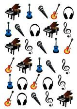 30 Music Notes Guitar STAND UP Cupcake Cake Topper Edible Paper Decorations