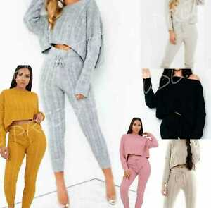 Womens Cable Knitted Baggy 2 Pieces Lounge Wear Casual Set Ladies Suit Tracksuit