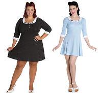Hell Bunny BeeBee Jersey Dress Vintage Retro 60s Style Polka Dot Tea Party