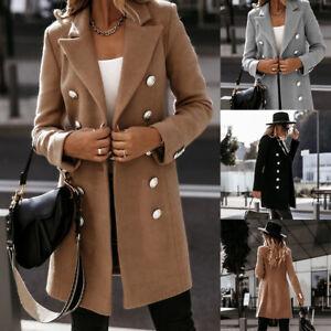 UK Womens Warm Woolen Trench Collared Coat Ladies Winter Long Jacket Overcoat