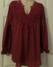 Woman's Burgundy Pull On Blouse By Melle Fashion, Size M, NWT