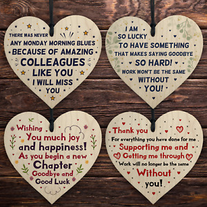 Colleague Leaving Gifts Novelty Wooden Hearts Good Bye Leaving Thank You Gifts