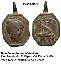 Medalla bronce siglo XVII. San Anastasio. Virgen del Risco (Ávila). Peso 5,33 gr