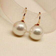 Elegant Round Pearl Gold Plated Drop Dangle Earrings Wedding Jewelry for Women