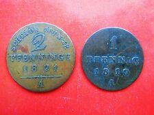 PREUSSEN 1 Pfennig 1810 2 Pfennige 1828 LOT 2 Stück !!!