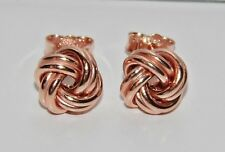 9ct Rose Gold on Silver Celtic Love Knot Ladies Stud Earrings - 8mm x 8mm