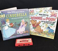 Cinderella Winnie the Pooh Eeyore Walt Disney Read Books & Recording Tape Lot 2