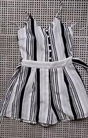 💜 BOOHOO Summer Strapy Romper White Black Striped Size 8 Buy7=FreePost L572