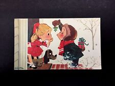 Vintage Xmas Greeting Card Boy with Mistletoe Waiting for a Kiss from His Girl