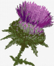 "Purple Thistle Flower - Scottish Mini Cross Stitch Kit 5"" x 6""  - 14 Count Aida"