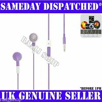 Purple Headphones Earphones Handsfree + Volume + Mic For iPhone 4 4S 3GS iPad 2