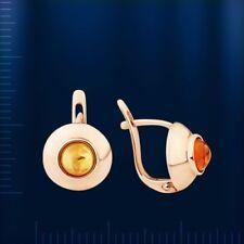 Knopf Stil Ohrringe mit Bernstein Russische Rose Rotgold 585 Goldohrringe Neu