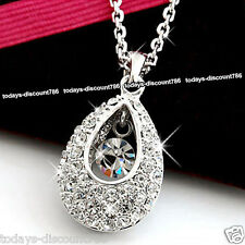 Teardrop Necklace Clear Crystal Silver Pendant Love Wife Women Xmas Gift For Her