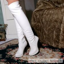 BLACK Sexy Womens Pu Leather High Boots High Heels Zipper OVer the Knee Boots