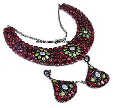 925 Sterling Silver Diamond Garnet Topaz Peridot Earring Necklace Jewelry Set -5