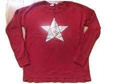 Gap Kids Girls Red L/S Shirt With Gold Sequin Glitter Star * Sz 10 * EUC