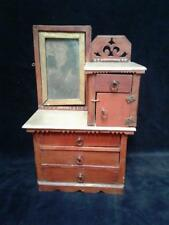 FOLK ART Handcrafted 19th C. Mirrored Chest of Drawers Model