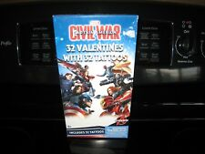 Marvel Captain America Civil War 32 Valentines With 32 Tattoos~ New