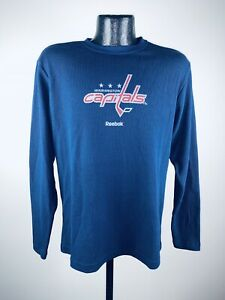Men's Washington Capitals Reebok Navy Blue Long Sleeve Thermal Shirt NWT Small