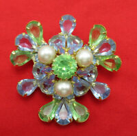 Juliana Vintage Rhinestone Brooch Pin Blue Green Crystal Faux Pearl Gold 318m