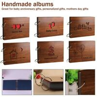 8inch Love Wooden Photo Album Scrap Book 30 Refillable Black Pages Decoration