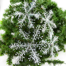 UK 30pcs White Snowflakes Decorations Christmas Tree Party Charms Ornament 11cm