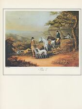 "1974 Vintage HUNTING ""COURSING w/ GREYHOUNDS"" COLOR Art Print Lithograph"