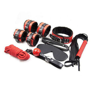 High Quality Black & Red Fur Bondage Set Kit - collar ballgag blindfold