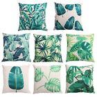 Green Leaves Cotton Linen Throw Pillow Case Sofa Waist Cushion Cover Home Decor