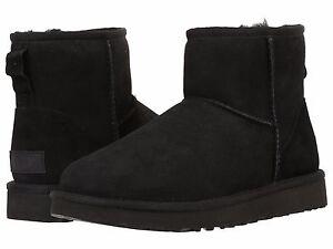 Women's Shoes UGG CLASSIC MINI II Slip On Sheepskin Ankle Boots 1016222 BLACK