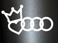 1 x 2 Plott Aufkleber Herz Krone Emblem Love Audi Tuning Sticker Shocker Fun Gag