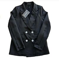 PrettyLittleThing Double Breasted Blazer in Black - Size 6 - Brand New With Tags
