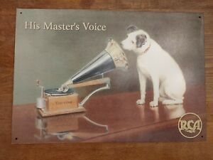 Vintage RCA ad sign, Nipper, His Master's Voice Victor Gramophone  Excellent...