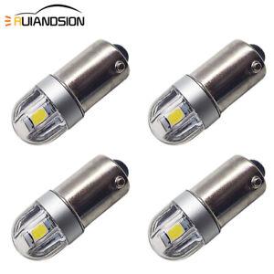 4pcs T4W BA9S 3030 2 LED White Side Signal Light Reverse Bulb Globe DC 6V 200LM