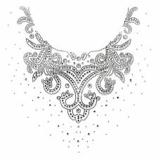 Rhinestone Transfer Hot fix Motif Fashion Design Decorative flower line neckline
