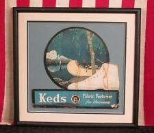 Vintage 1920s Keds Sneakers Athletic Shoes Die-Cut Counter Display Sign Framed
