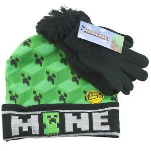 Minecraft Creeper Winter Hat Beanie Stocking Cap & Gloves Boys Youth Green