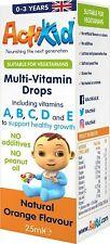 ActiKid Multi-Vitamin Drops 25ml Immunity Boost Gelatine Free Babies Infants New