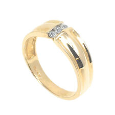 Genuine Diamond & 10k Yellow Solid Gold Men's Wedding Anniversary Ring Band New