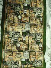 """HARRODS TEA TOWEL LABELS FOOD CONFECTIONARY CLOTHES 17 X 29"""" LINEN GREEN GOLD"""