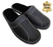 Herren Hausschuhe Pantoffeln Leder schwarz mit Warmfutter  Gr. 40 - 48