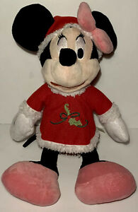 "Disney Minnie Mouse Plush 17"" DanDee Collectors Choice Holiday Outfit Red Holly"