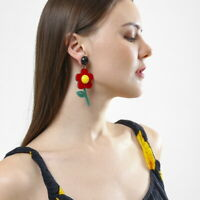 Women Boho Dangle Drop Stud Earring Acrylic Resin Flower Earrings Jewelry