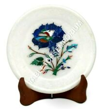 """5"""" Marble Decorative Serving Plate Lapis Floral Marquetry Art Christmas Gift"""