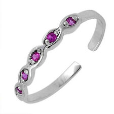 Silver Adjustable Infinity Toe Ring Sterling Silver 925 Best Jewelry Ruby CZ