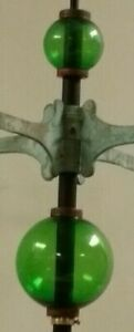 "2.5"" & 4.5''GREEN GLASS BALL set for weathervanes OR LIGHTENING RODS"