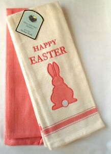 (2) Well Dressed Home Happy Easter Kitchen Dish Towel Rabbit Hare Pink Off White