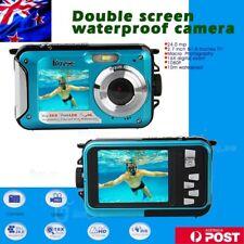 Double Screen HD 24mp Waterproof Digital Video Camera 1080p DV Blue Underwater