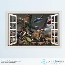 Dinosaurs And Sharks 3D Window View Decal Wall Sticker Home Decor Art Mural