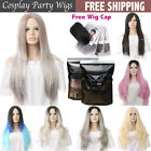 Womens Top Long Short Straight Synthetic Hair Lolita Black Ombre Grey Wig Wigs